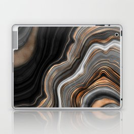 Elegant black marble with gold and copper veins Laptop & iPad Skin