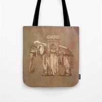 bastille Tote Bags featuring Elephant Bastille by Bluepress