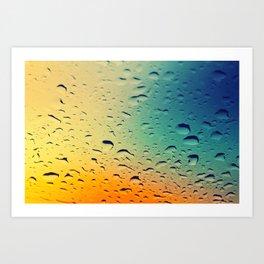 Rain drops on the glass. Multicolored. Art Print