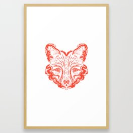 Muzzle foxes. Fox with sideburns, sketch strokes. Framed Art Print