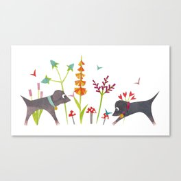 Dogs and Butterflies Canvas Print