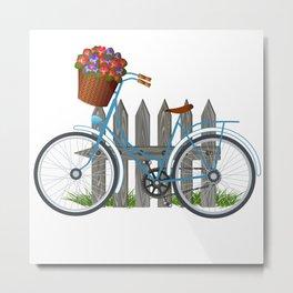 Vintage bicycle with basket full of violets flowers Metal Print