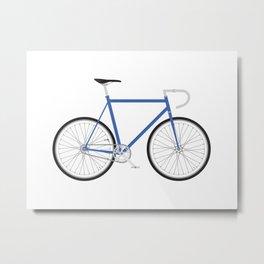 Fixed Gear Bike - Blue Metal Print