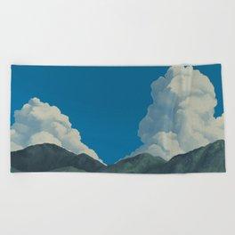 Puffy Anime-style Clouds Beach Towel