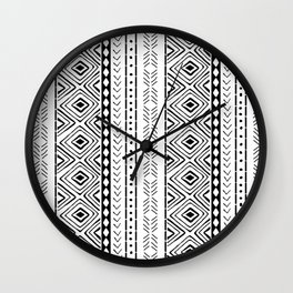 White Mudcloth Wall Clock