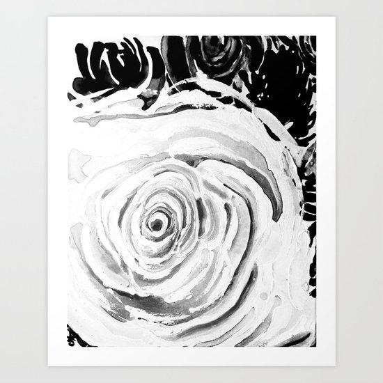 Roses For A Romantic Heart, Black and White Art Print