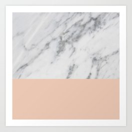 Marble and Blush Pink Art Print