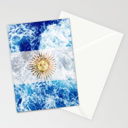Flag of Argentina - Ocean Waves Stationery Cards
