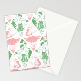 Hawaii Hula Dancers Green Pink Pattern Stationery Cards