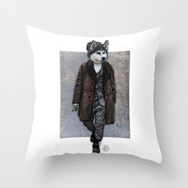 Husky Hipster, Dapper Doge Throw Pillow
