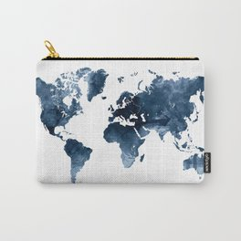 World Map Blue Watercolor by Zouzounio Art Carry-All Pouch