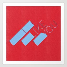 I Like You Graphik: Blue Type Art Print