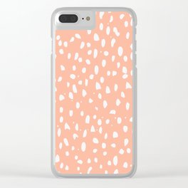 Handdrawn Polka Dot Pattern - White on Peach Clear iPhone Case