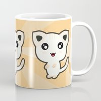 kawaii Mugs featuring Kawaii Cat by Nir P