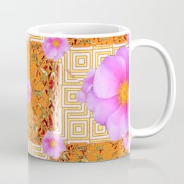 Quilted Style Fuchsia Pink Wild Rose Orange Pattern Abstract Coffee Mug