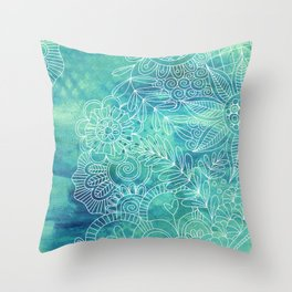 Green Abstract with Doodles Throw Pillow