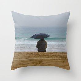 Beach Shilouette Umbrella Throw Pillow