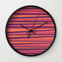 Happy Horizontal Lines Pink Version Wall Clock