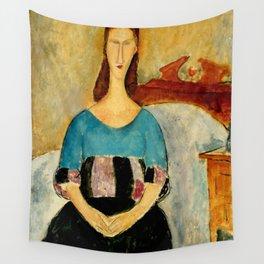 "Amedeo Modigliani ""Portrait of Jeanne Hebuterne, Seated"" 1918 Wall Tapestry"