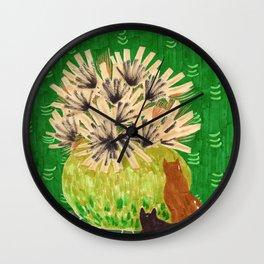 Chartreuse Vase drawing by Amanda Laurel Atkins Wall Clock