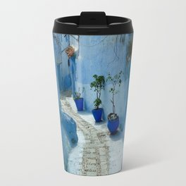 Colorful Blue Flowerpots Morocco Travel Mug