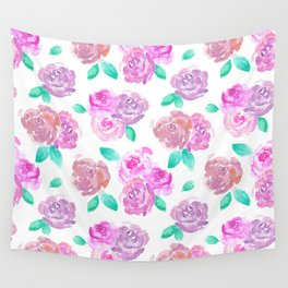 Purple and Pink Watercolor Roses Floral Pattern Wall Tapestry