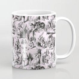 Alice in Wonderland | Toile de Jouy Pattern | Black | Pink | Vintage Pattern | Victorian Gothic | Coffee Mug