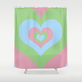 Radiating Hearts Pink, Blue, and Green Shower Curtain
