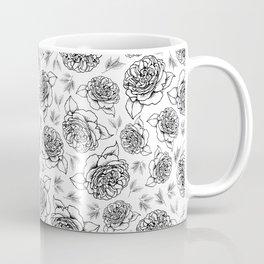 Full Bloom - Floral Print in Black and White Coffee Mug