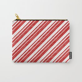 Velvety Red Candy Cane Diagonal Christmas Stripe Carry-All Pouch