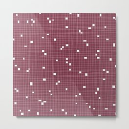 Red Plum and White Grid - Missing Pieces Metal Print