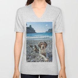 dog on the beach Unisex V-Neck