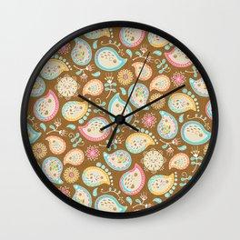 Hedgehog Paisley - Colors and Cocoa Wall Clock