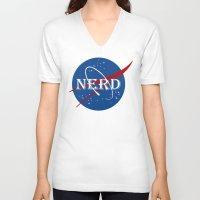 nerd V-neck T-shirts featuring Nerd by jekonu