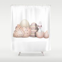 Kawaii Easter Bunny hatching from Easter Eggs Shower Curtain