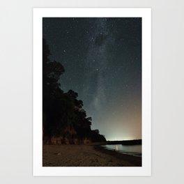 Milky way landscape at the coast of 'Colonia, Uruguay' Art Print