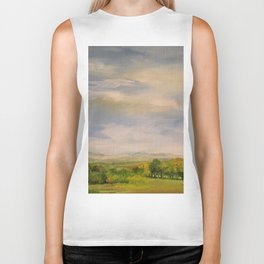 Scenic Autumn Late Afternoon in Vermont Nature Art Landscape Oil Painting Biker Tank