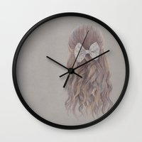 bow Wall Clocks featuring Bow by Ellen Macintyre