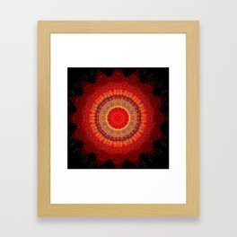 Vibrant Red Gold and black Mandala Framed Art Print
