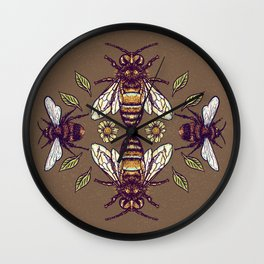 Flowers for Honey Bees Wall Clock