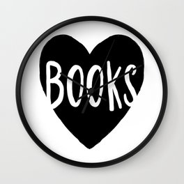 Heart Books - Hand lettered Book worm design  Wall Clock