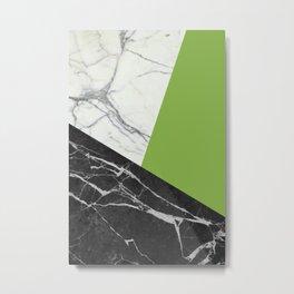 Black and white marble with pantone greenery Metal Print