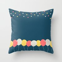 baloon Throw Pillows featuring Baloon by ARIS8