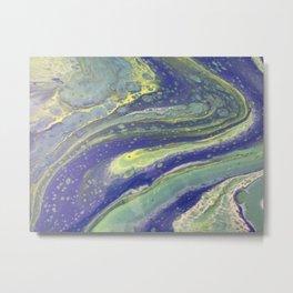 Green and Blue swirly Metal Print