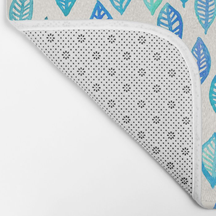 Watercolor Leaf Pattern in Blue & Turquoise Bath Mat