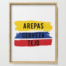 Funny Tejo print Gift Arepas Cerveza Tejo Colombia flag product Serving Tray
