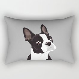 Boston Terrier Portrait - Grey Rectangular Pillow