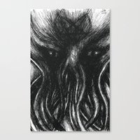 """cthulu Canvas Prints featuring Cthulu """"He is Risen"""" H.P. Lovecraft by judgehydrogen"""