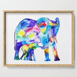 Colorful family elephants Serving Tray