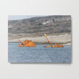 Rustic Metal Boat on its way to the bottom of the ocean Metal Print